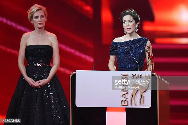 Crown Princess Mary and Maria Furtwaengler are seen on stage during the Bambi Awards 2014 show on November 13 2014 in Berlin Germany