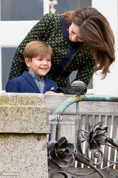 Crown Princess Mary and Prince Vincent of Denmark attend the 77th birthday celebrations of Danish Queen Margrethe at Marselisborg Palace on April 16...