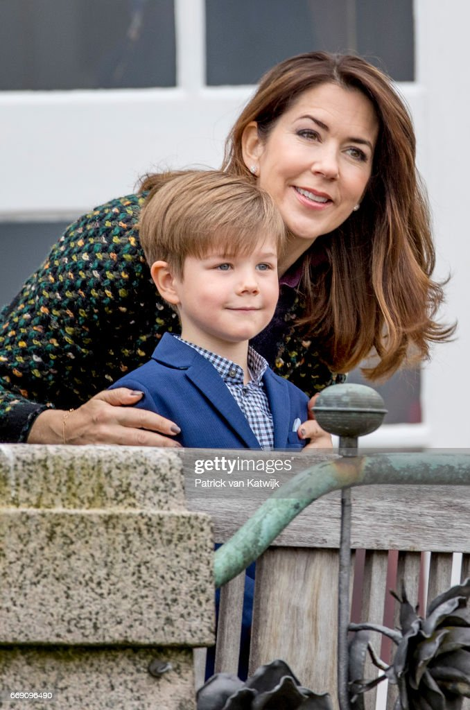 Crown Princess Mary and Prince Vincent of Denmark attend the 77th birthday celebrations of Danish Queen Margrethe at Marselisborg Palace on April 16, 2017 in Aarhus, Denmark.