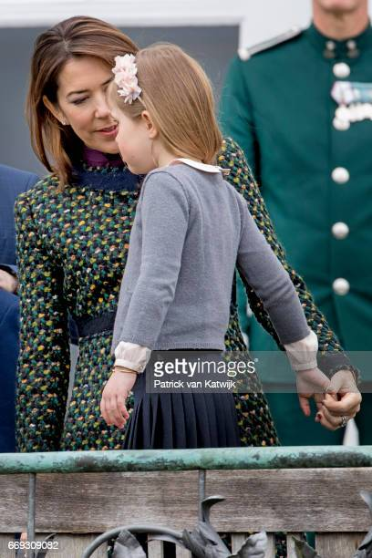 Crown Princess Mary and Princess Josephine of Denmark attend the 77th birthday celebrations of Danish Queen Margrethe at Marselisborg Palace on April...