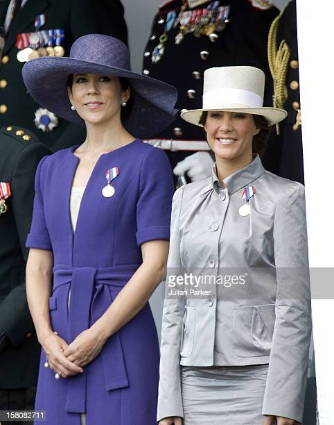 Crown Princess Mary And Princess Marie Of Denmark Attend A Parade At Rosenborg Eksercerplads In Copenhagen To Celebrate The 350Th Anniversary Of The...