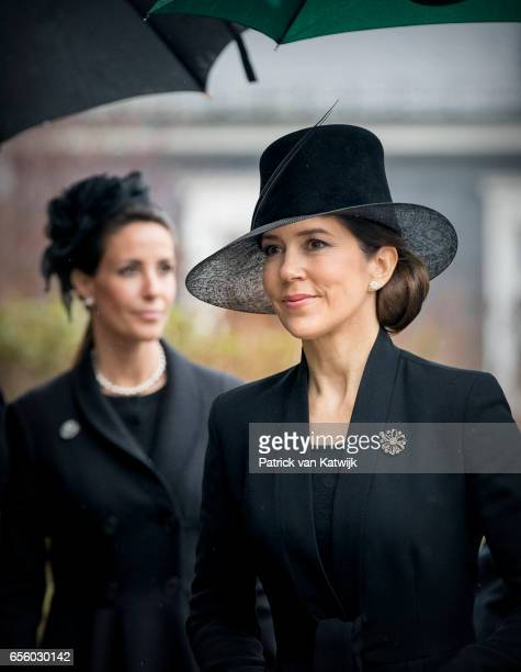 Crown Princess Mary and Princess Marie of Denmark attend the funeral of Prince Richard at the Evangelische Stadtkirche on March 21 2017 in Bad...