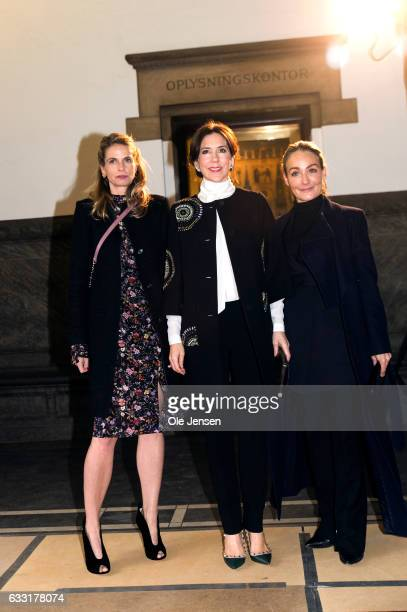 Crown Princess Mary aqrrives together with Camilla Frank CEO of Copenhagen Fashion Week to the City Hall for the opening ceremony of the Copenhagen...