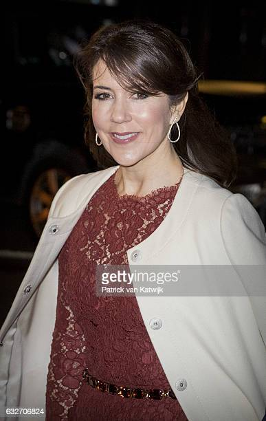 Crown Princess Mary arrives at the Nordatlantens Brygge for the return concert offered by the president of Iceland to the Danish Queen on January 25...