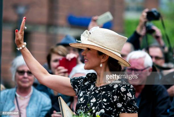 Crown Princess Mary arrives to Odense Flower Festival which she is to open officially and where she is to be presented to a new developed rose on...