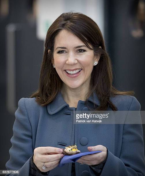 Crown Princess Mary attends a cooking workshop at a hospitality school on day two of the Icelandic state visit on day two of the Icelandic state...