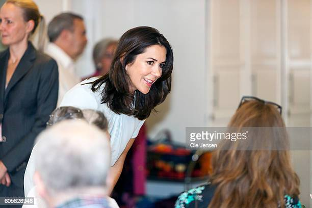 Crown Princess Mary attends the 50 years anniversary at the day activity centre for handciapped Stroedammen in Copenhagen Denmark on September 14 2016