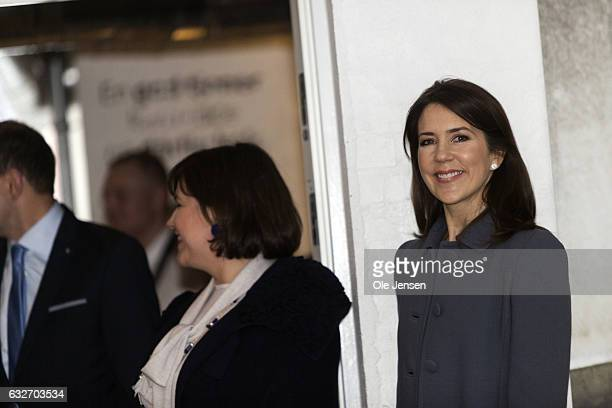 Crown Princess Mary during her and the Icelandic President Gudni Thorlacius Johannesson visit Copenhagen Hospitality School on January 25 2017 in...