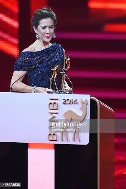 Crown Princess Mary is seen on stage during the Bambi Awards 2014 show on November 13 2014 in Berlin Germany