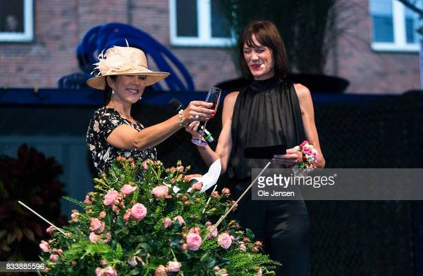 Crown Princess Mary name a new developed rose during the opening ceremony of Odense Flower Festival on August 17 2017 in Odense Denmark The new rose...