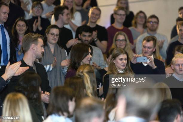 Crown Princess Mary of Denmark among students at Copenhagen Business School on February 22 2017 in Copenhagen Denmark The Crown Princes spoke at...