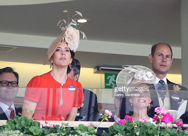 Crown Princess Mary of Denmark and Catherine Duchess of Cambridge watch the races on day 2 of Royal Ascot at Ascot Racecourse on June 15 2016 in...
