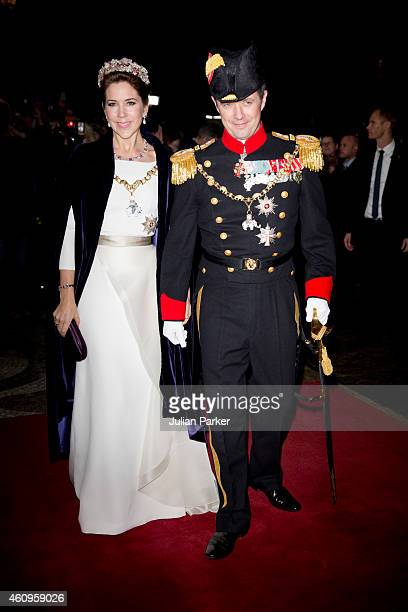 Crown Princess Mary of Denmark and Crown Prince Frederik of Denmark attend a New Years Levee and Banquet at Christian VII's Palace on January 1 2015...