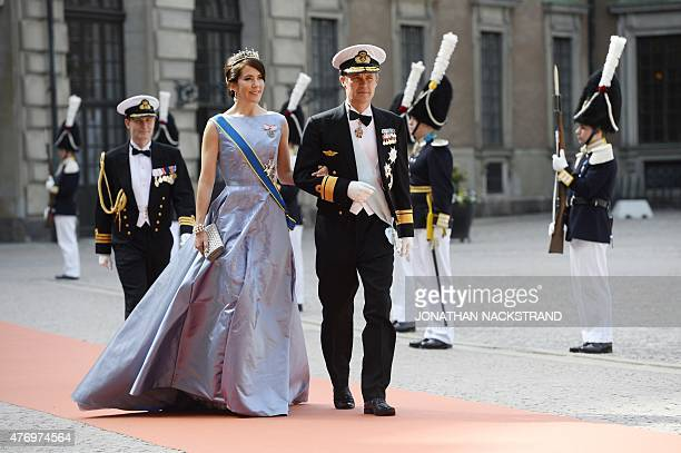 Crown Princess Mary of Denmark and Crown Prince Frederik of Denmark arrive for the wedding of Sweden's Crown Prince Carl Philip and Sofia Hellqvist...