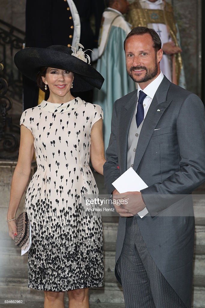 Crown Princess Mette-Marit of Norway and Crown Prince Haakon of Norway are seen after the christening of Prince Oscar of Sweden at Royal Palace of Stockholm on May 27, 2016 in Stockholm, Sweden.