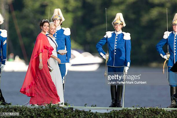 Crown Princess Mary of Denmark and Crown Princess Marie Chantal of Greece attend the evening banquet after the wedding of Princess Madeleine of...