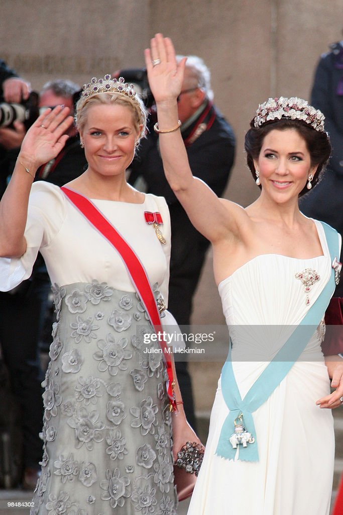 Crown Princess Mary of Denmark (R) and Crown Princess Mette-Marit of Norway (L) attend the Gala Performance in celebration of Queen Margrethe's 70th Birthday on April 15, 2010 in Copenhagen, Denmark.