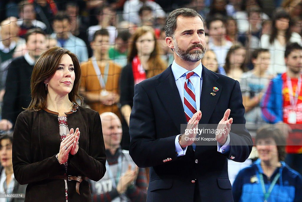 Mary, crown princess of Denmark and Prince Felipe of Spain applauds the team on the podium after the Men's Handball World Championship 2013 final match between Spain and Denmark at Palau Sant Jordi on January 27, 2013 in Barcelona, Spain.