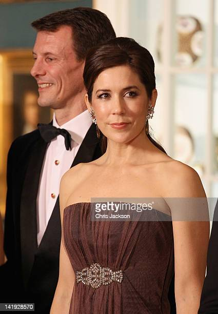Crown Princess Mary of Denmark and Prince Joachim of Denmark take part in a receiving line ahead of an official dinner at the Royal Palace on March...