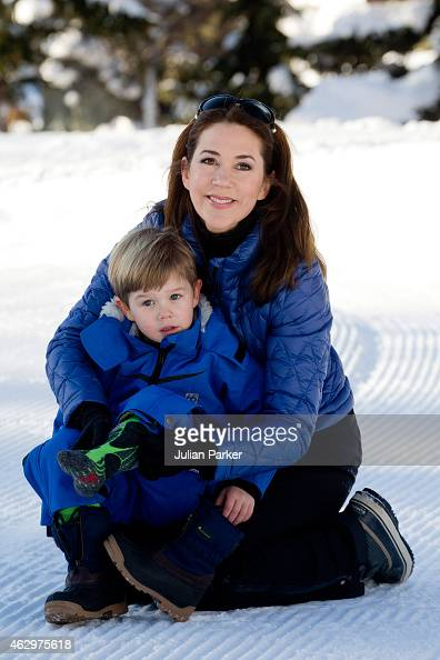 Crown Princess Mary of Denmark and Prince Vincent of Denmark attend a Photocall during their annual Ski holiday on February 8 2015 in Verbier...