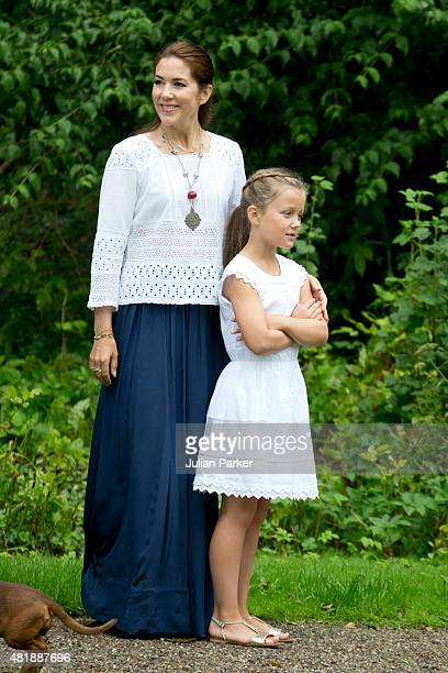 Crown Princess Mary of Denmark and Princess Isabella of Denmark attend the annual summer Photocall for The Danish Royal Family at Grasten Castle on...