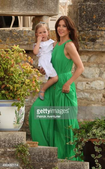 Crown Princess Mary of Denmark and Princess Josephine of Denmark attend a photocall at Chateau de Cayx on June 11 2014 in Luzech France