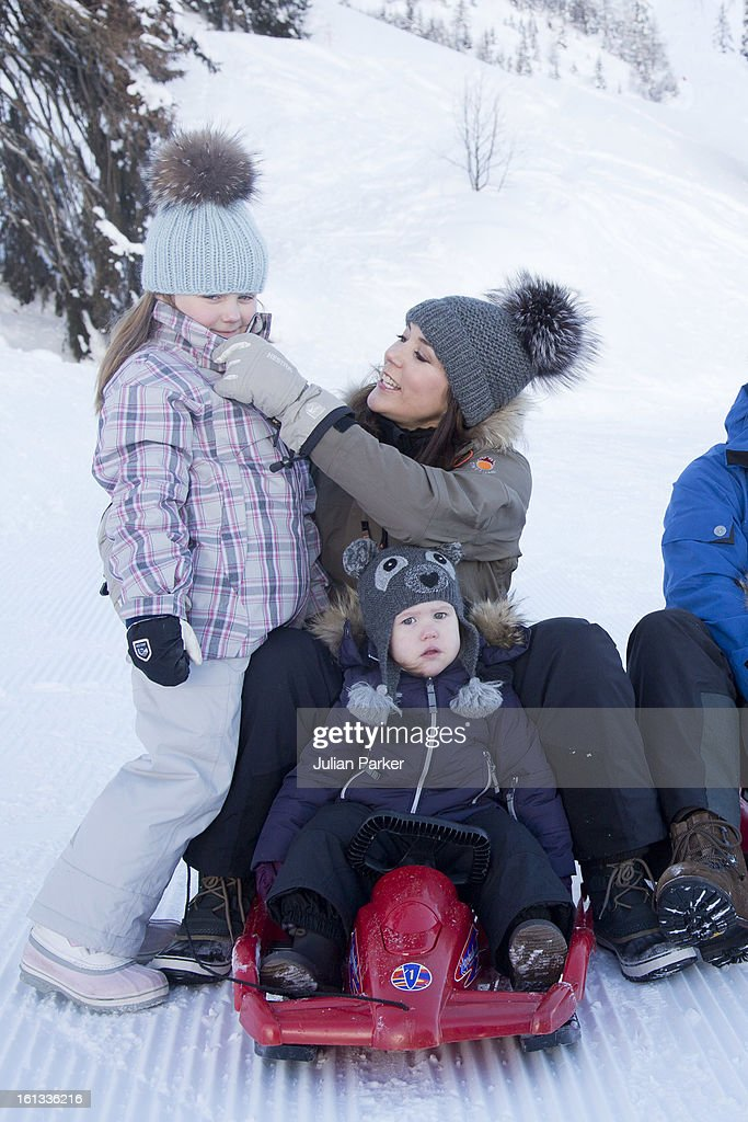Crown Princess Mary of Denmark and Princess Josephine of Denmark , and Princess Isabella of Denmark, pose for photographs on their annual skiing holiday on February 10, 2013 in Verbier, Switzerland.