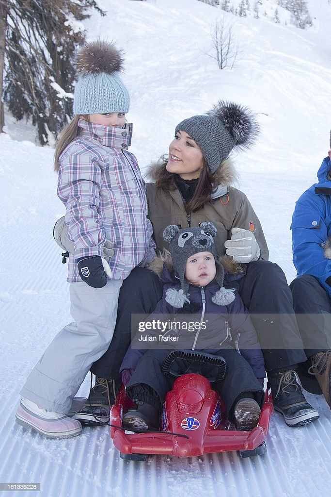 Crown Princess Mary of Denmark and Princess Josephine of Denmark, and Princess Isabella of Denmark, pose for photographs on their annual skiing holiday on February 10, 2013 in Verbier, Switzerland.