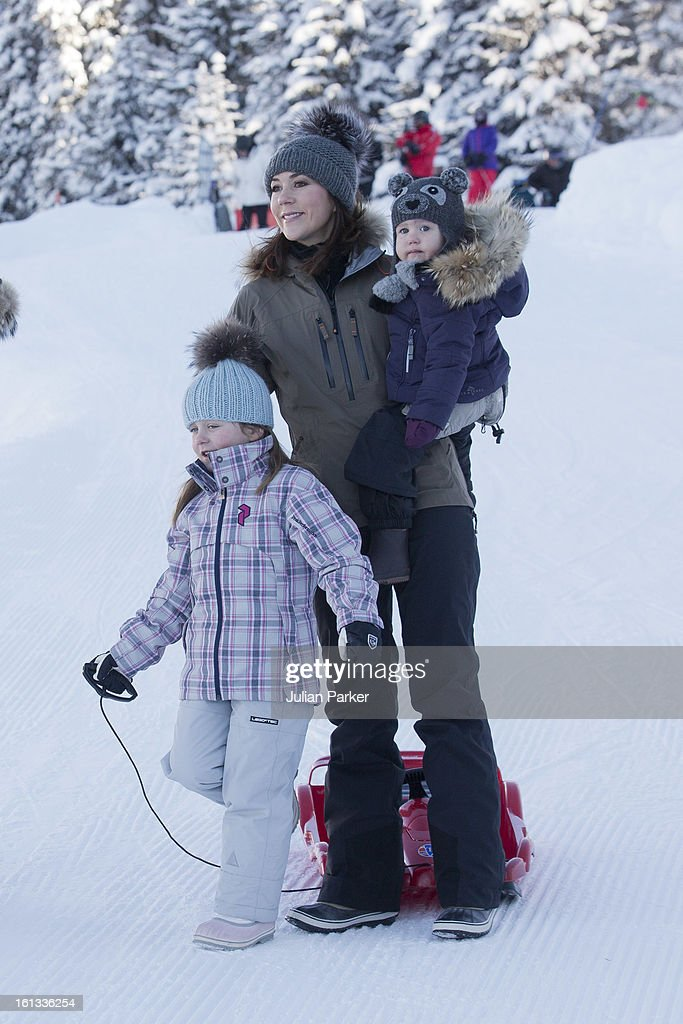 <a gi-track='captionPersonalityLinkClicked' href=/galleries/search?phrase=Crown+Princess+Mary+of+Denmark&family=editorial&specificpeople=158374 ng-click='$event.stopPropagation()'>Crown Princess Mary of Denmark</a> and Princess Josephine of Denmark and <a gi-track='captionPersonalityLinkClicked' href=/galleries/search?phrase=Princess+Isabella+of+Denmark&family=editorial&specificpeople=4380393 ng-click='$event.stopPropagation()'>Princess Isabella of Denmark</a>, pose for photographs on their annual skiing holiday on February 10, 2013 in Verbier, Switzerland.