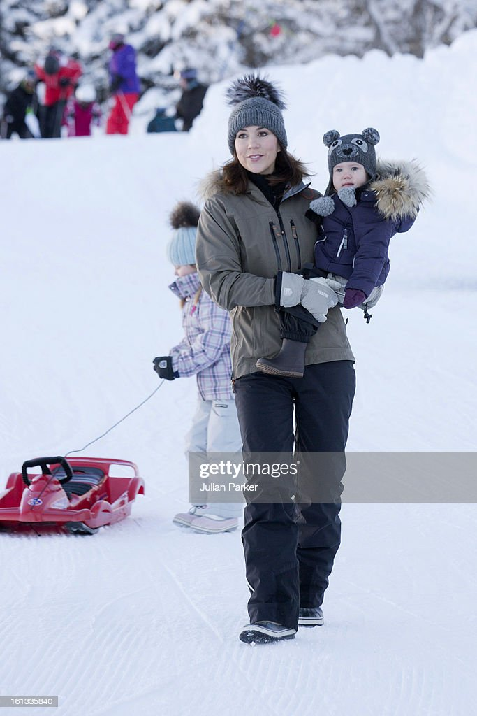 Crown Princess Mary of Denmark and Princess Josephine of Denmark pose for photographs on their annual skiing holiday on February 10, 2013 in Verbier, Switzerland.