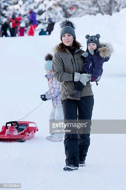 Crown Princess Mary of Denmark and Princess Josephine of Denmark pose for photographs on their annual skiing holiday on February 10 2013 in Verbier...