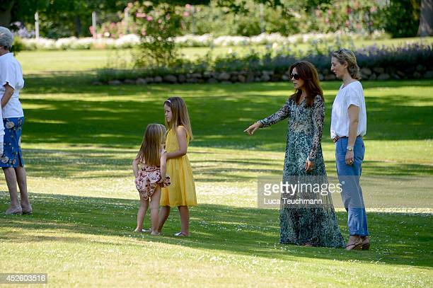 Crown Princess Mary of Denmark and Princess Josephine of Denmark attend the annual summer photo call for the Royal Danish family at Grasten Castle on...