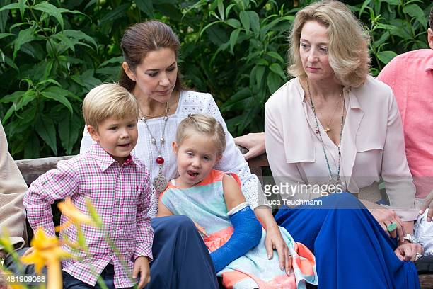 Crown Princess Mary of Denmark and Princess Josephine of Denmark attend the annual summer Photocall for The Danish Royal Family at Grasten Castle on...