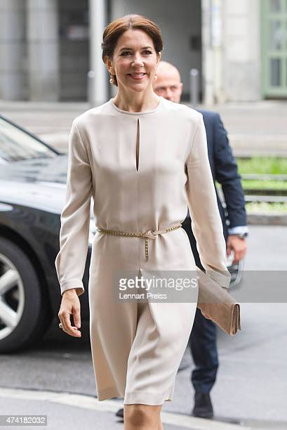 Crown Princess Mary of Denmark arrive at Loewenbraukeller during their visit to Germany on May 21 2015 in Munich Germany