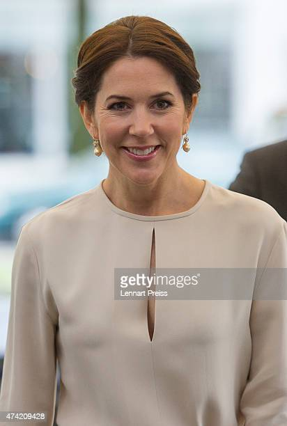 Crown Princess Mary Of Denmark arrives at a furniture shop during their visit to Germany on May 21 2015 in Munich Germany