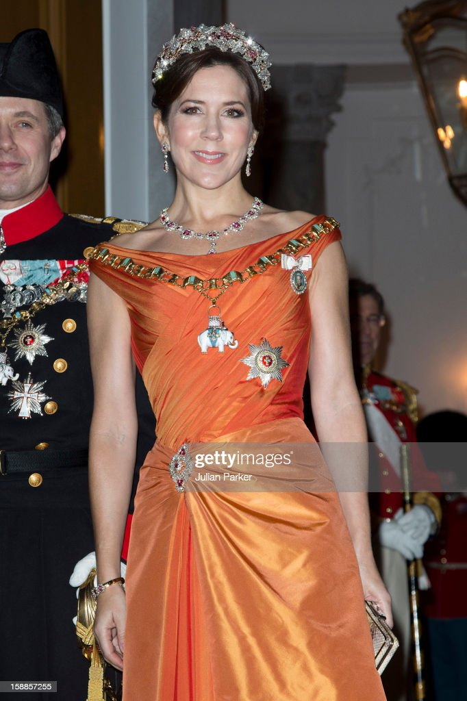 Crown Princess Mary of Denmark arrives at a New Year's Banquet hosted by Queen Margrethe of Denmark, at Christian VII's Palace, Amalienborg Palace on January 1, 2013 in Copenhagen, Denmark.