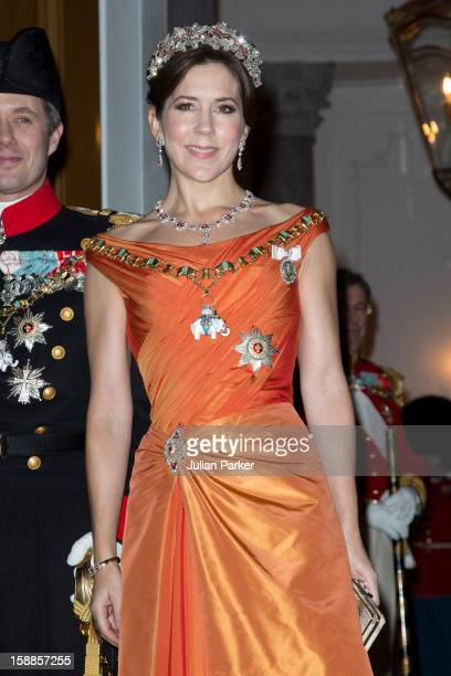 Crown Princess Mary of Denmark arrives at a New Year's Banquet hosted by Queen Margrethe of Denmark at Christian VII's Palace Amalienborg Palace on...