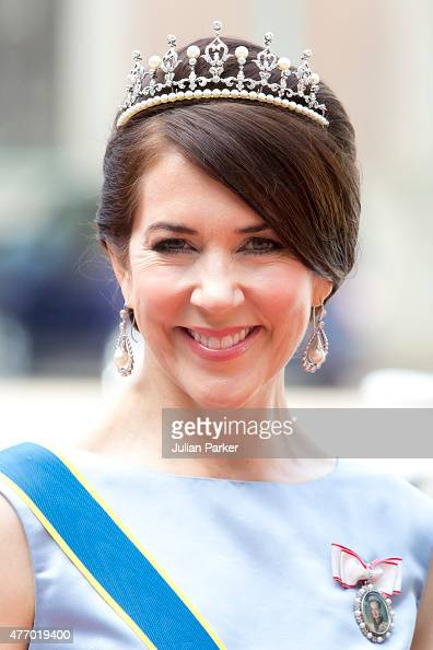 Crown Princess Mary of Denmark arrives at The Royal Chapel at The Royal Palace in Stockholm for The Wedding of Prince Carl Philip of Sweden and Sofia...