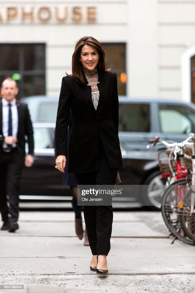 Crown Princess Mary of Denmark arrives at the world premiere of the documentary 'Jaha's Promise' in the Grand Theatre during the opening of Copenhagen Documentary Film Festival (CPH:DOX) on March 16, 2017 in Copenhagen, Denmark. 'Jaha's Promise' is a documentary with Jaha Dukureh playing herself, about a young woman's fight for her own body and about having the courage to confront her father, politicians and the society at large in order to change the widespread practice of female circumcision (FGM) in Gambia. The documentary is directed and produced by Irish Patrick Farelly and Kate O'Callaghan.