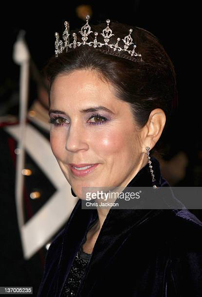 Crown Princess Mary of Denmark arrives for a Gala Performance at the DR Concert Hall to celebrate Queen Margrethe II of Denmark's 40 years on the...