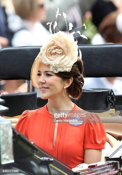 Crown Princess Mary of Denmark arrives for day 2 of Royal Ascot at Ascot Racecourse on June 15 2016 in Ascot England