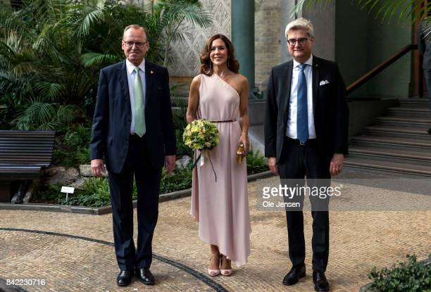 Crown Princess Mary of Denmark arrives to the Carlsberg Foundation prize ceremony at the Glyptotek together with Minister of Research Soeren Pind and...