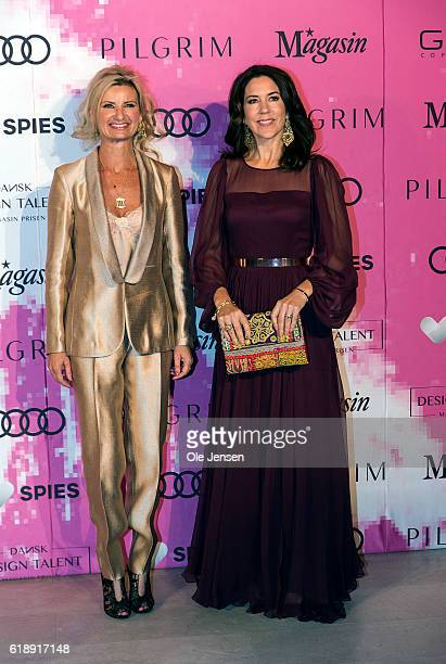 Crown Princess Mary of Denmark arrives together with Nina WedelWedelsborg to the Danish Talent Award 2016 show at the National Gallery on October 27...
