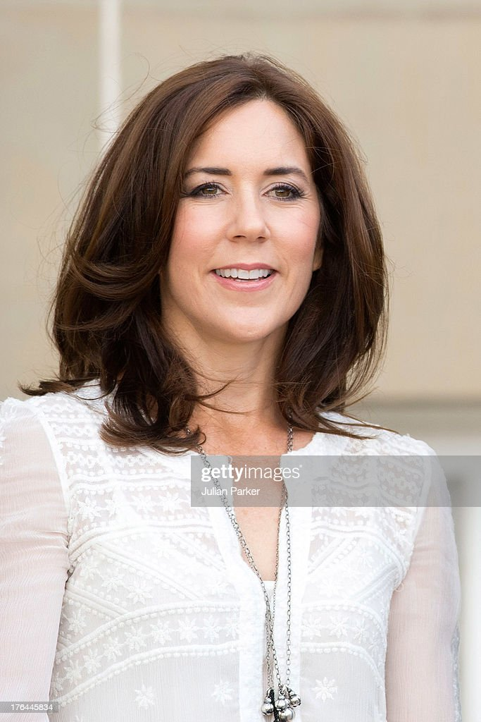 Crown Princess Mary of Denmark, at Amalienborg Palace to accompany her daughter Princess Isabella on her first day at Tranegard School, near Copenhagen. on August 13, 2013 in Copenhagen, Denmark.