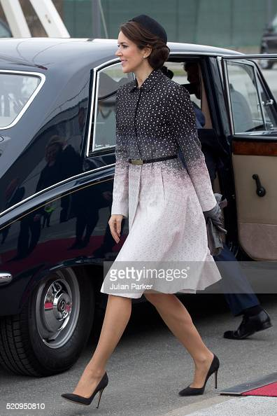 Crown Princess Mary of Denmark at Copenhagen Airport for the arrival of The President and his wife during the State visit of the President of The...