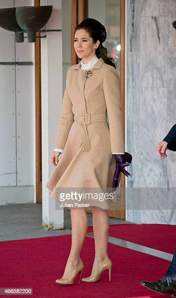 Crown Princess Mary of Denmark at Copenhagen Airport to greet the arriving Dutch King Queen at the start of a Dutch State visit to Denmark on March...