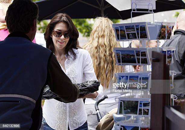 Crown Princess Mary of Denmark at Salamanca Market on Salamanca Place in Hobart Tasmania 25 November 2006 SHD Picture by PER GROTH