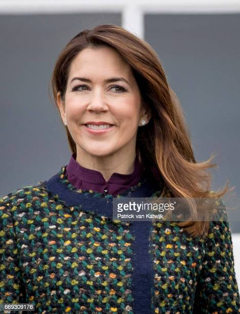 Crown Princess Mary of Denmark attend the 77th birthday celebrations of Danish Queen Margrethe at Marselisborg Palace on April 16 2017 in Aarhus...