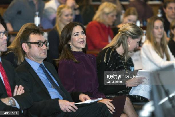 Crown Princess Mary of Denmark attends a conference at Copenhagen Business School on February 22 2017 in Copenhagen Denmark The Crown Princes spoke...