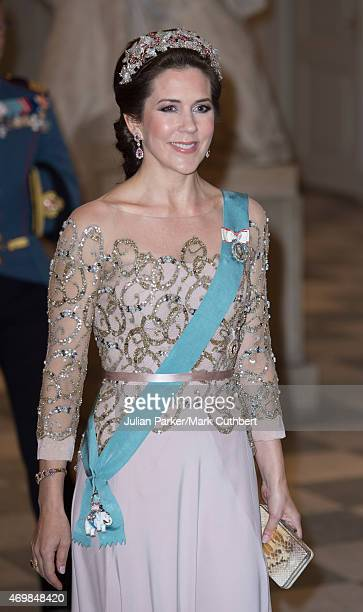 Crown Princess Mary of Denmark attends a gala dinner at Christiansborg Palace on the eve of the 75th Birthday of Queen Margrethe II of Denmark on...